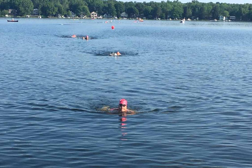 Swimmers at Baseline Lake