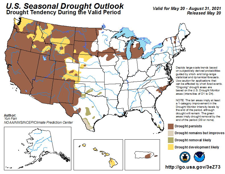 NIDIS map showing that drought conditions in Southern Michigan are likely to persist through Summer 2021