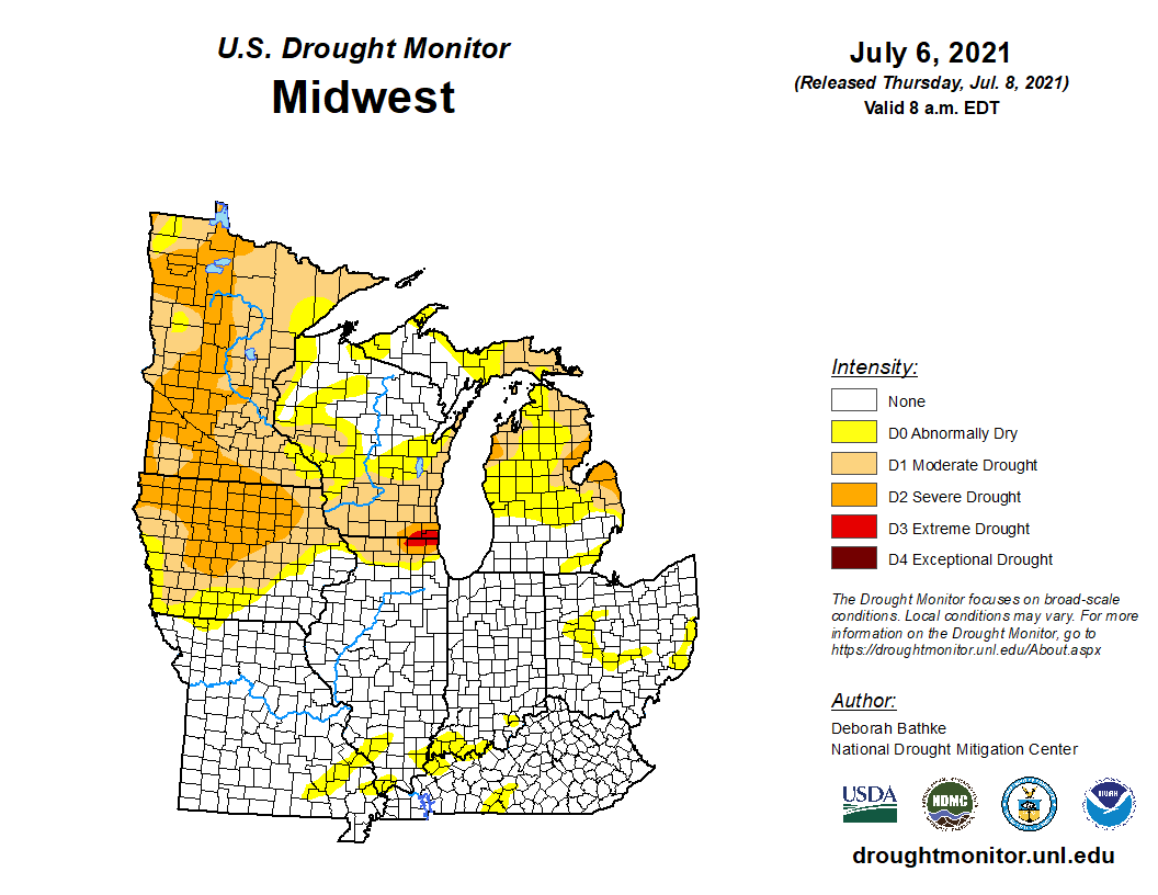 Current Midwestern U.S. drought conditions as of July 6, 2021